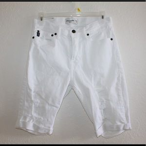 "abercrombie white ""ripped"" jean shorts"